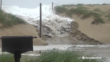 Mother Nature's power showcased as dunes are overtopped as nor'easter hits North Carolina
