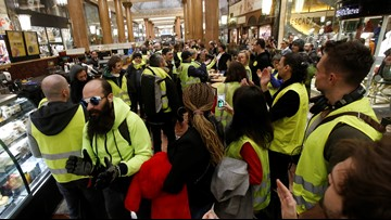 French yellow vests protest for 16th straight weekend