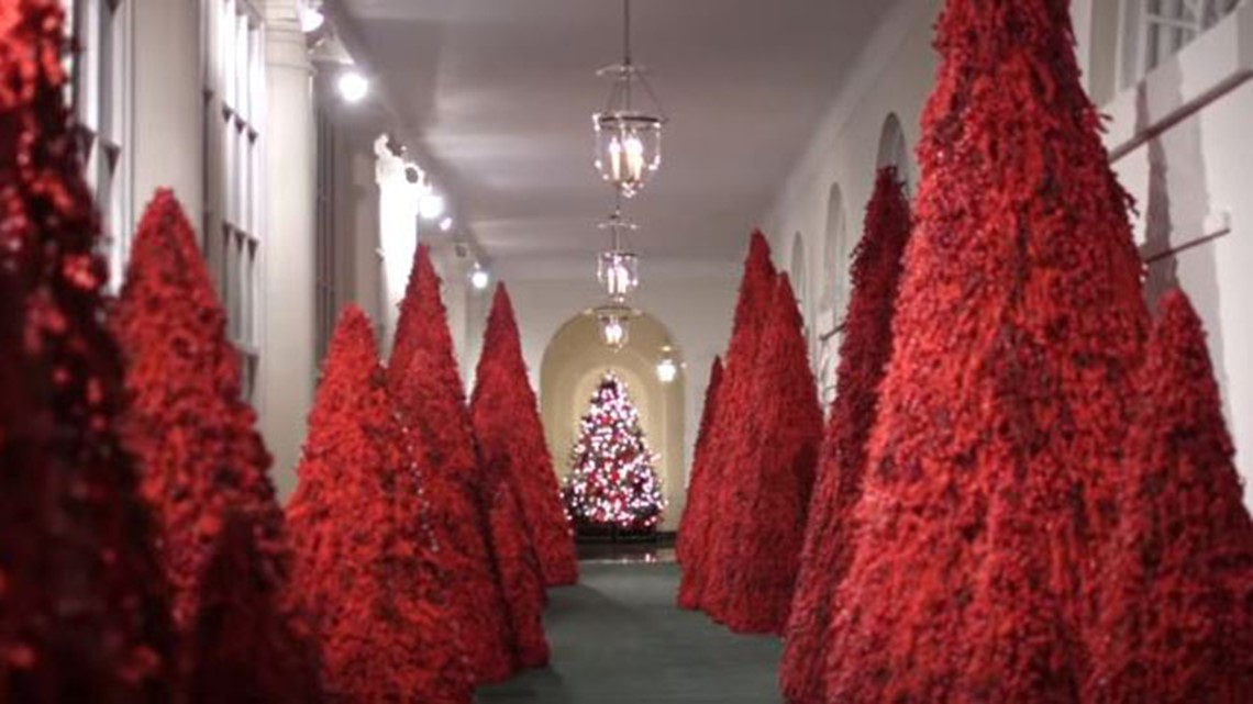 Melania Trump S Red Christmas Trees Have Twitter Crying Handmaid S