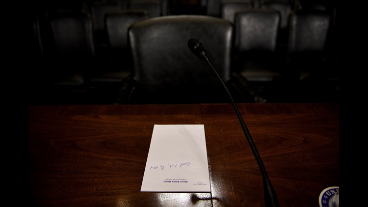 A handwritten message was spotted Wednesday in the Senate Judiciary Committee hearing room where Christine Blasey Ford would sit