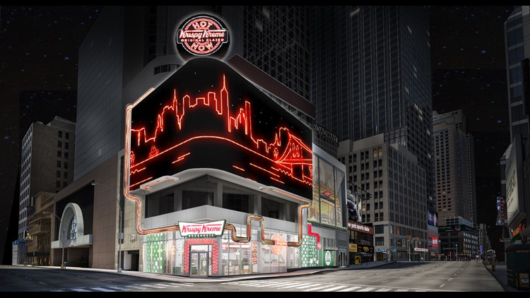 Krispy Kreme announces Times Square location with 'glaze waterfall' and stadium seating