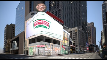 Krispy Kreme's new Times Square location will have stadium seating so you can watch its 'glaze waterfall'