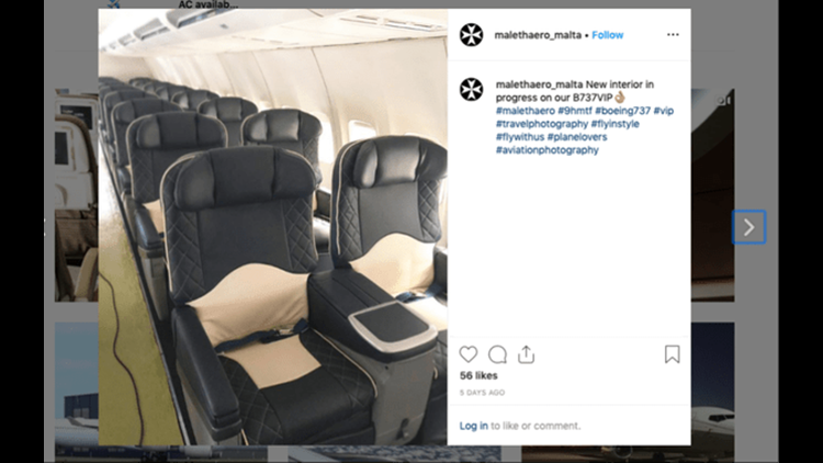 The interior of the Boeing 737 used by the USWNT on an intra-European flight. (Image by malethaero_malta on Instagram)