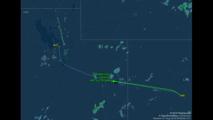Delta Connection flight DL3652 from Aspen (ASE) to Salt Lake City (SLC) (Image courtesy of FlightAware)