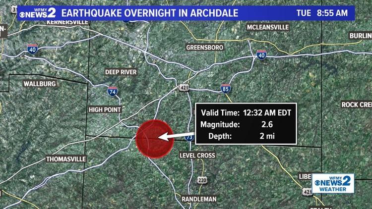 2.6 earthquake hits North Carolina counties