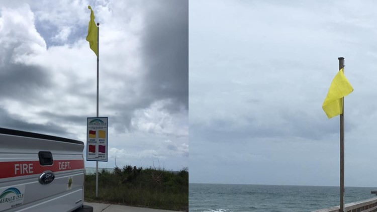 Emerald Isle yellow flags