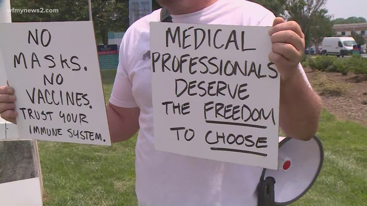 Protesters push back after N.C. hospitals announce vaccine mandate for employees