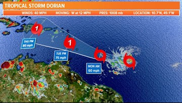 TROPICS: Tropical Storm Dorian forms in open Atlantic with Carolinas next area to watch for developing tropical cyclone