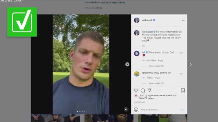 Yes, Carl Nassib is the first active NFL player to come out as gay