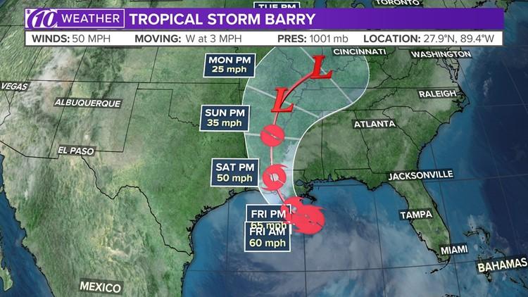 Tropical Storm Barry gains some strength