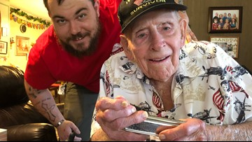 94-year-old WWII veteran plays his harmonica to honor our country