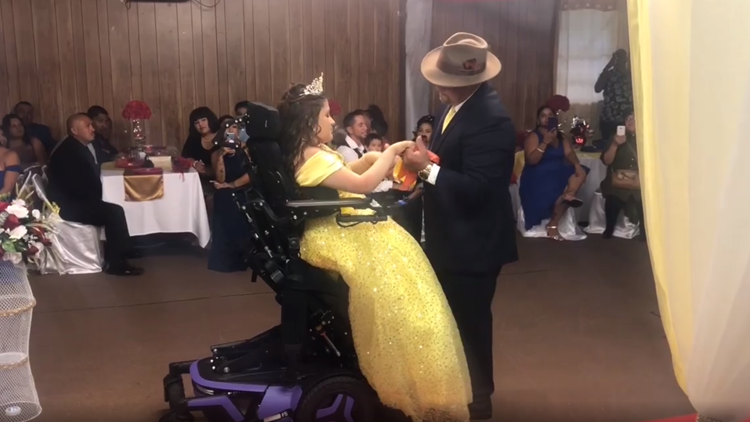 Video shows Florida teen with spina bifida stand up and dance with her dad for the first time