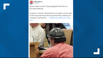 Pastor of Church of Flying Spaghetti Monster leads prayer at government meeting
