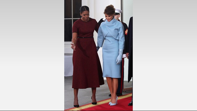 Melania Trump Debuts Sky Blue Ralph Lauren Inaugural Outfit And An Updo 13newsnow Com