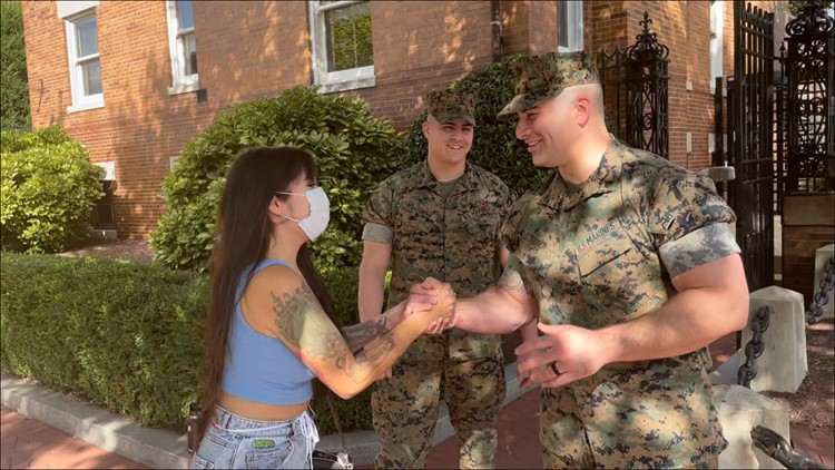 'The Marines answered my prayer'   Woman rescued from flood near Arlington National Cemetery reunites with Marine heroes