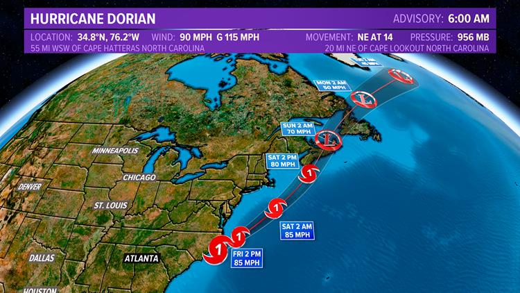 Hurricane Dorian 6 a.m. Sept. 6 track