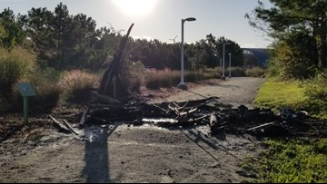 Wooden archway at Brock Environmental Center burns down