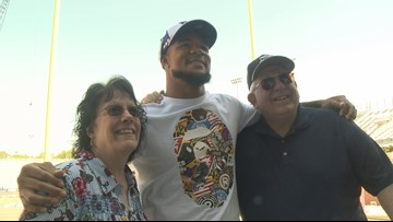 ODU's Ximines reacts to being chosen by the New York Giants