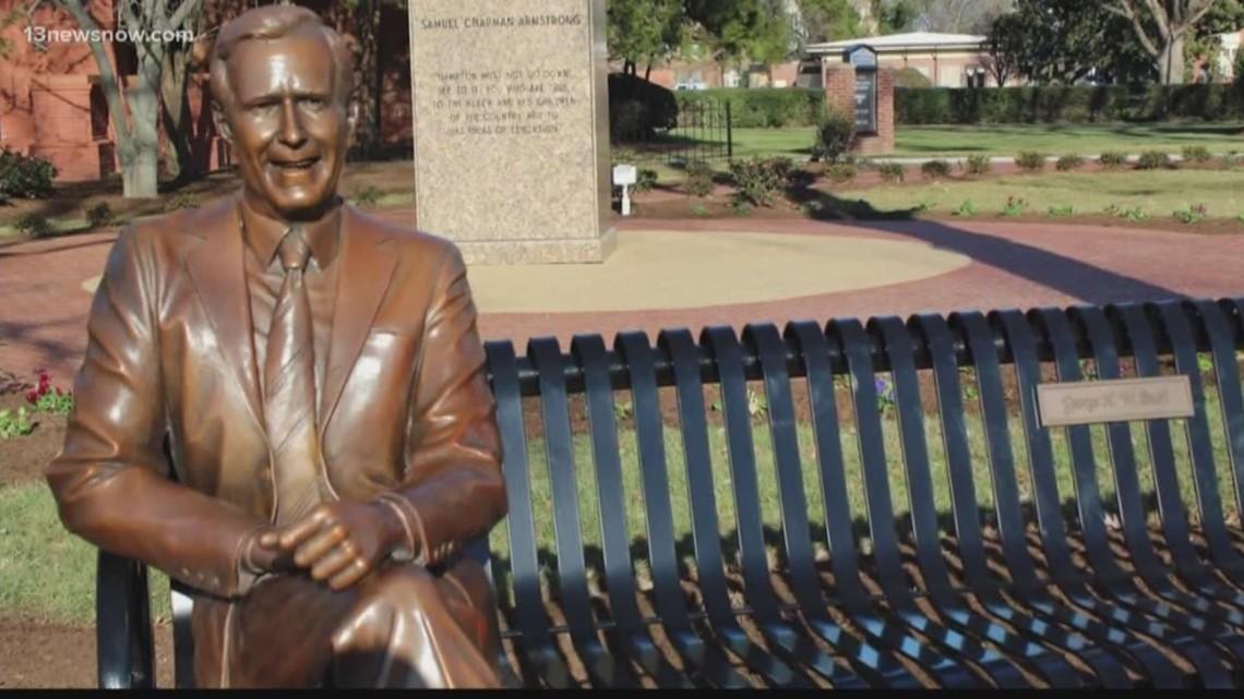 hampton university u0026 39 s president george h w  bush statue