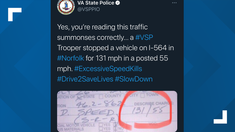 131 mph in a 55 mph zone: Virginia State Police start posting parts of reckless speeding tickets on social media