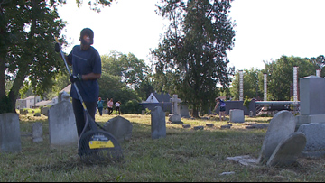 Volunteers clean historic Hampton cemetery ahead of Memorial Day