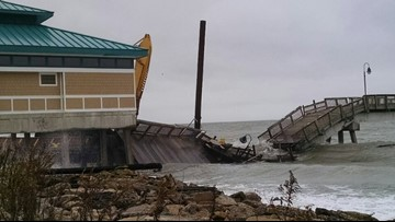 Buckroe Fishing Pier collapses after a loose barge crashes into it
