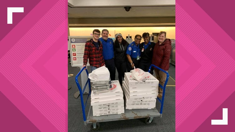 Woman purchases pizza for TSA workers at Norfolk International Airport