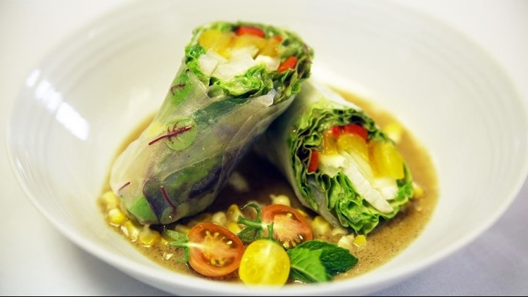 Chef Mark Bedzik's spring rolls using produce from the Culinary Institute of Virginia greenhouse.