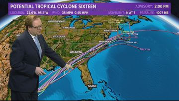 Tropics Update: Potential Tropical Cyclone 16 develops in the Gulf of Mexico