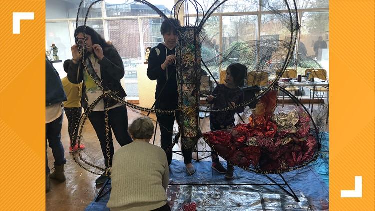 Suffolk students, volunteers create art from beach waste displayed at Norfolk Botanical Garden