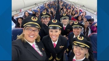 All-women Delta crew flies 120 girls to NASA headquarters to inspire female aviators