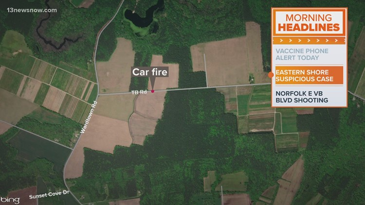 Virginia State Police investigating after body found in burning car on Eastern Shore