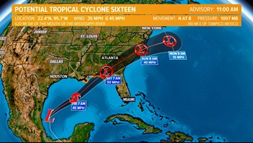 Potential Tropical Cyclone 16 churns in the Gulf of Mexico; could impact Virginia, North Carolina