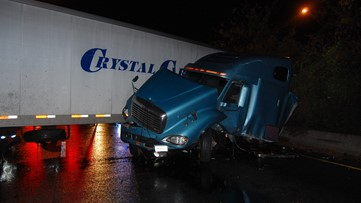 Crews cleaning up diesel fuel spill on I-64 after tractor-trailer crashes in Hampton