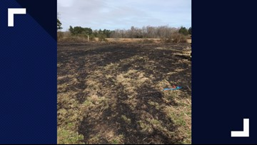 Firefighters battle brush fire in Suffolk