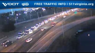 Vehicle fire inside HRBT east causes heavy traffic congestion
