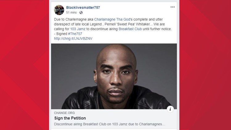 Petition launched to take 'The Breakfast Club' off 103 JAMZ after comment about 'Sweet Pea' Whitaker