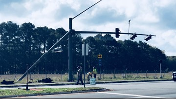 Traffic lights knocked out in Virginia Beach crash