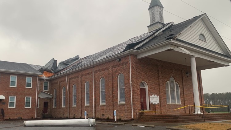 National Weather Service says EF-0 tornado touched down in Isle of Wight County; church damaged in Windsor