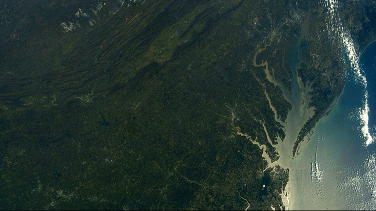 A photo snapped from space of Hampton Roads, the Eastern Shore and the surrounding area has Facebook users in awe!