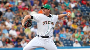 Alvarez powers Tides past Mud Hens