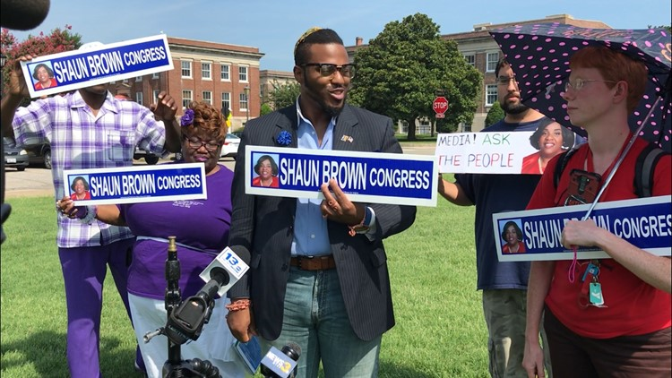 Supporters of independent 2nd District Congressional candidate Shaun Brown held a news conference on Friday morning. Democrats are calling for Brown's name to be removed from the ballot after several names on a petition are believed to be forgeries.