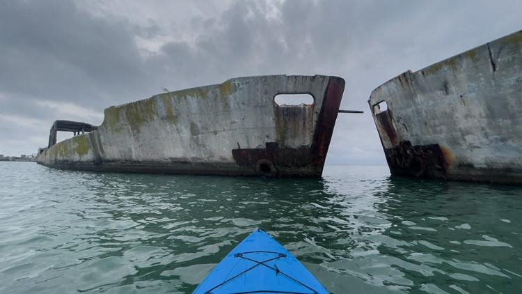 Kayak next to WWII concrete ships at Kiptopeke State Park on Eastern Shore