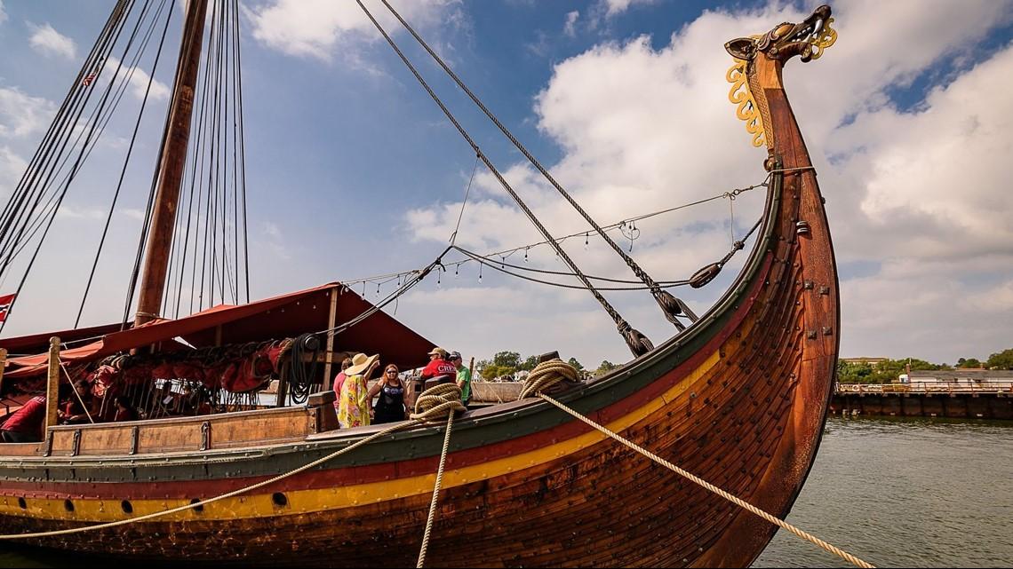 The Draken Harald Harfagre Sits In Cape Charles Harbor Viking Ship