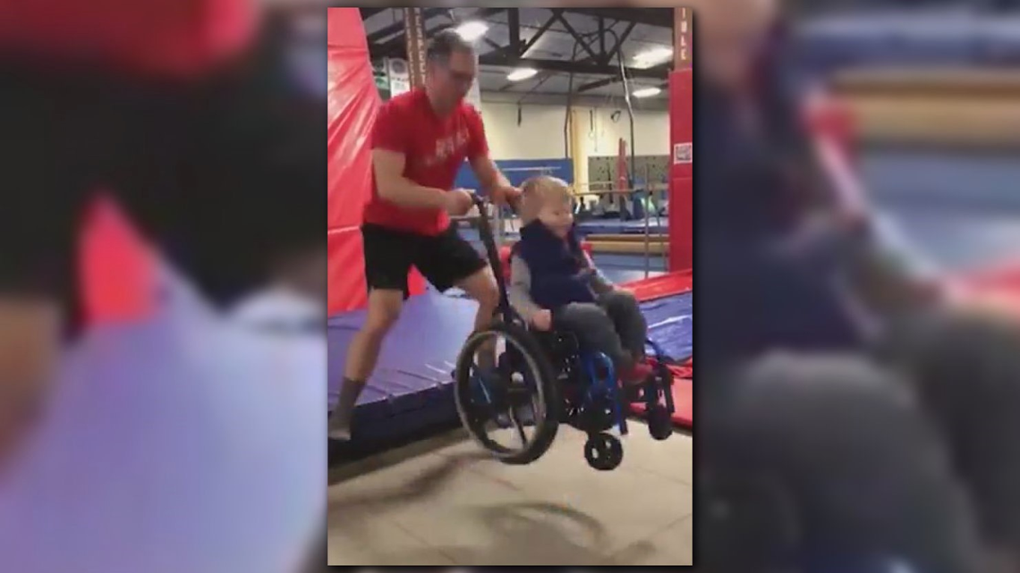 4-year-old inspires with trampoline act in his wheelchair