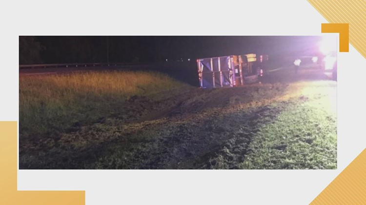 Tractor-Trailer Hauling Frozen Meat Overturns near Route 58 in Suffolk