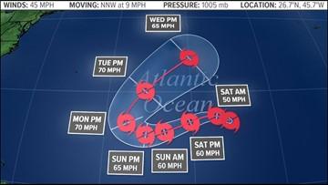 Subtropical Storm Oscar develops in the Atlantic