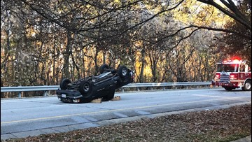 Black ice causes truck to overturn near Newport News overpass