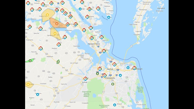 Thousands of residents without power in James City County