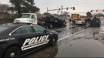 School bus, two other vehicles involved in crash in Portsmouth